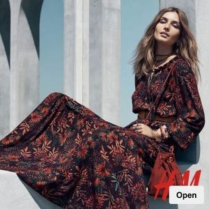 H&M Floral Boho Maxi Long Sleeve Dress